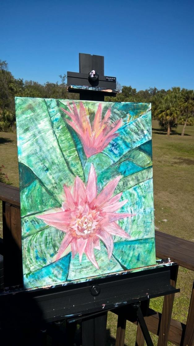 Pink Flowering Bromeliad acrylic painting by Cynthia Maniglia | Sand Salt Moon