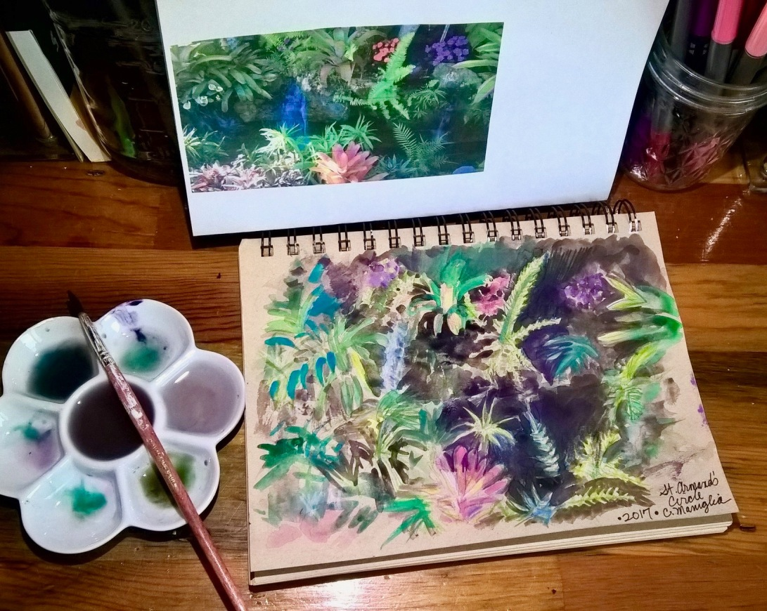 Cynthia Maniglia - Watercolor study - Flowers at St. Armand's Circle in Sarasota FL